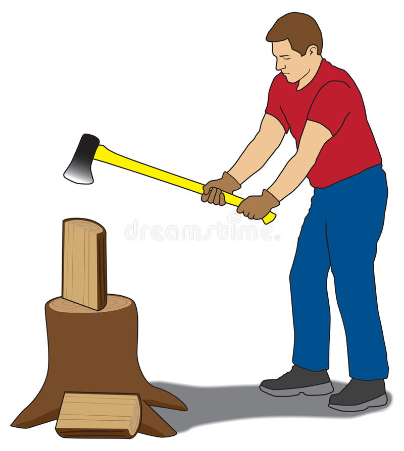 Lenha de rachadura do homem ilustração stock