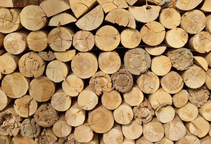 Lenha desbastada madeira empilhada na pilha imagem de stock
