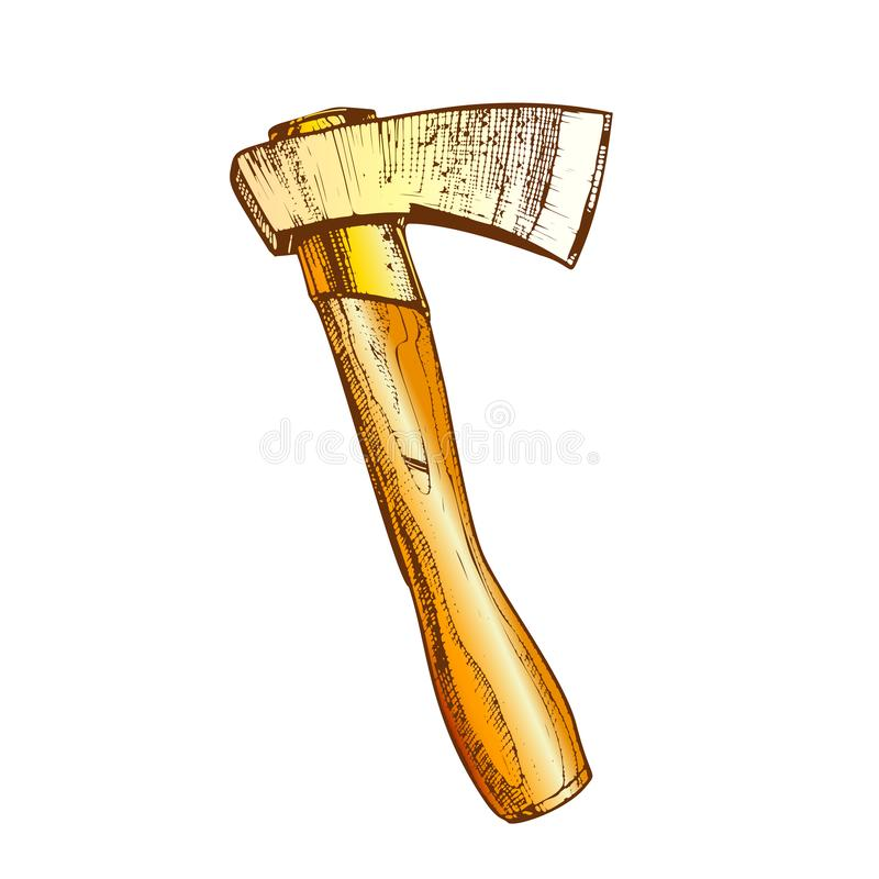 Lenhador de corte de madeira Instrument Ax Vetora da cor ilustração stock