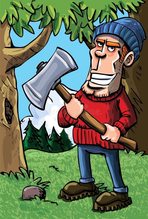 Lenhador dos desenhos animados que prende um machado ilustração do vetor