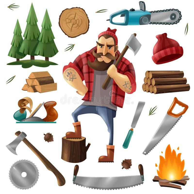 Lenhador Icon Set do desflorestamento ilustração do vetor