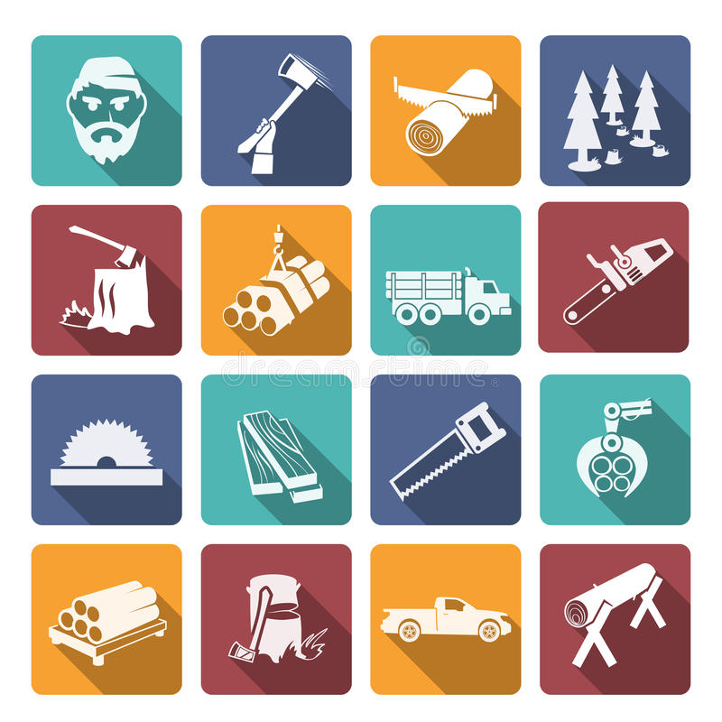 Lenhador Woodcutter Icons ilustração do vetor