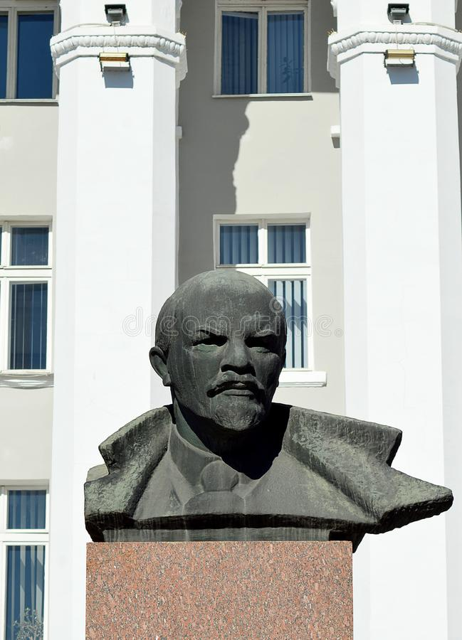 Lenin bust outside House of Soviets. Tiraspol, Transnistria royalty free stock photo