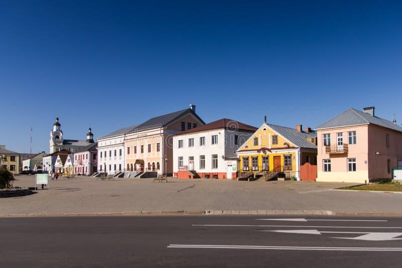 Lenin fyrkant i Novogrudok, Grodno region, Vitryssland fotografering för bildbyråer