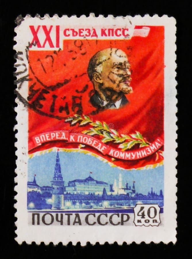Lenin i widok Kremlin, 21st kongres partia komunistyczna, około 1959 zdjęcia stock