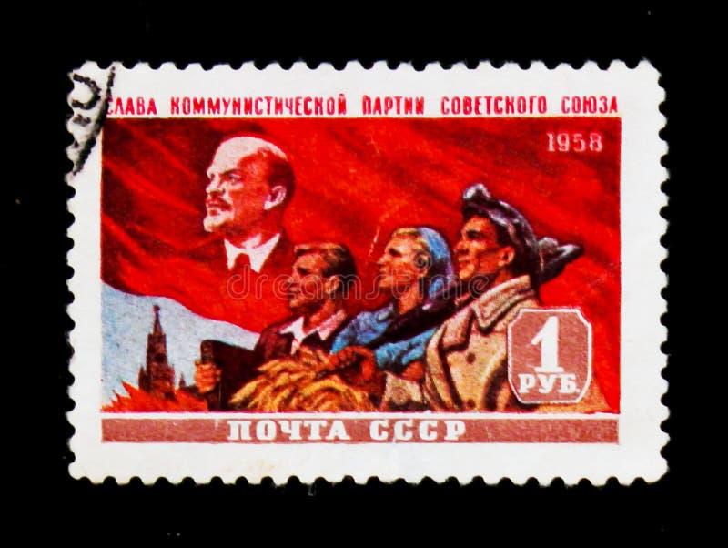 Lenin intellektuell, bonde och gruvarbetare, circa 1958 royaltyfria foton