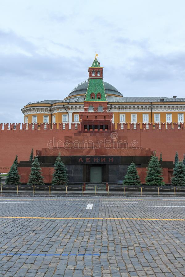 Lenin mausoleum in Red square, Moscow. Without tourists and other people stock image