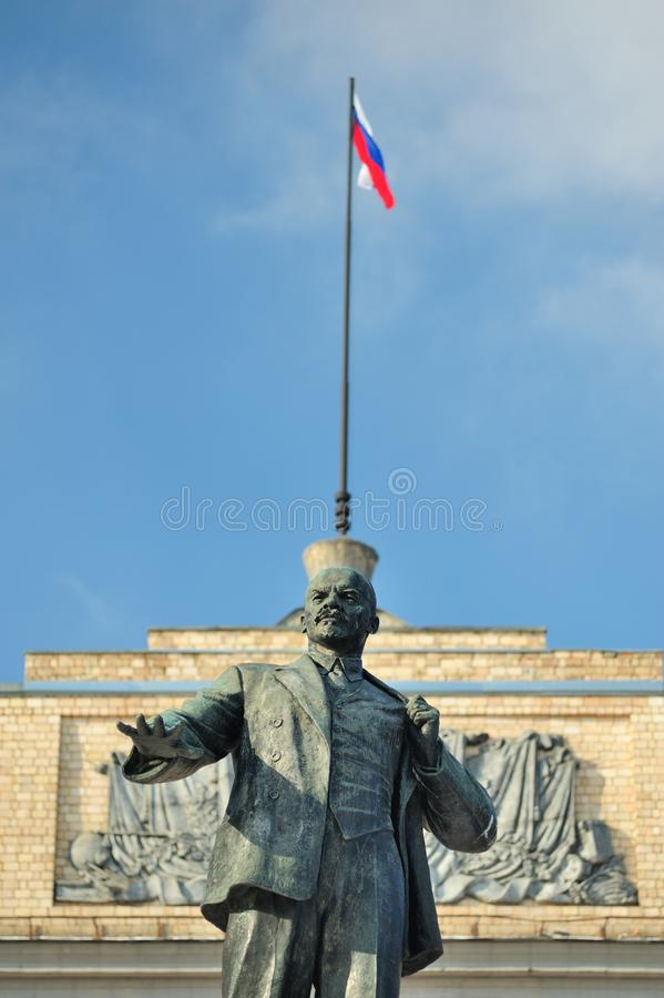 Lenin monument and Russian flag, Orel, Russia. Vertical stock images