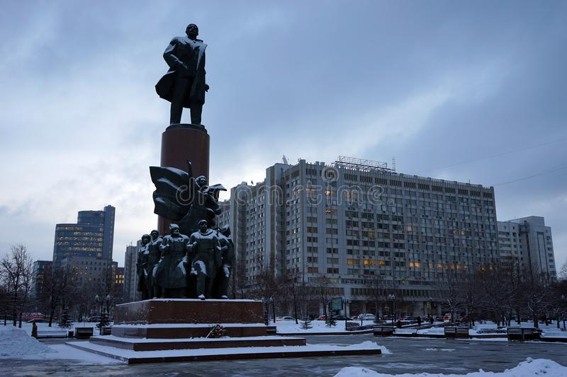 Lenin monument on the square royalty free stock photos