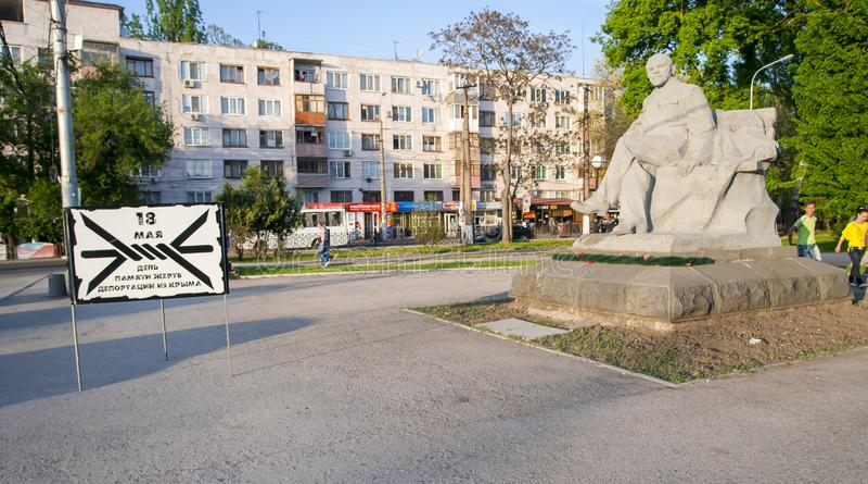Lenin-Monument Vladimir Ilyich Ulyanov-Skulptur Simferopol, Ukraine, stockfotografie