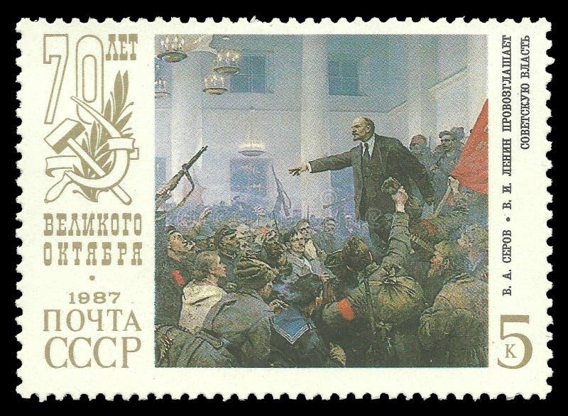 Lenin proclama autoridad soviética foto de archivo libre de regalías