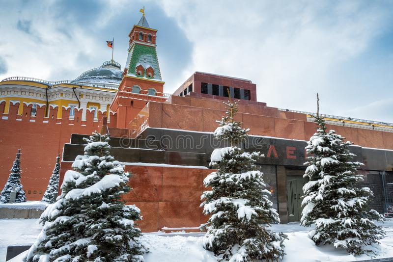 Lenin`s Mausoleum on the Red Square in winter, Moscow stock photography