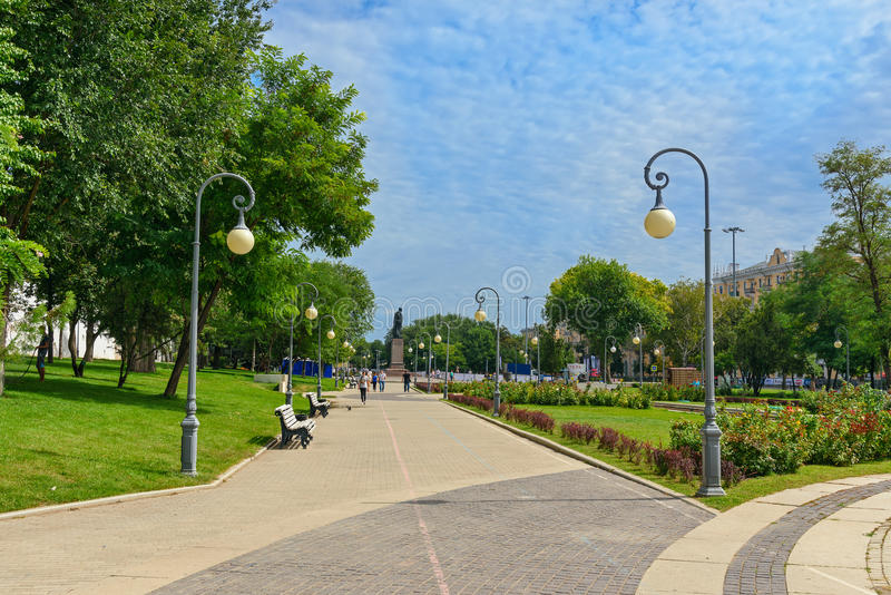 Lenin square in Astrakhan stock image