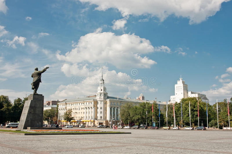 Lenin square. In Voronezh, Russia. Summer sketch stock images