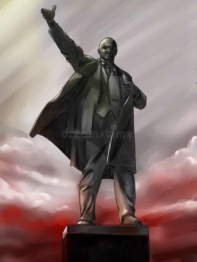 Lenin staty på gryningen royaltyfri illustrationer