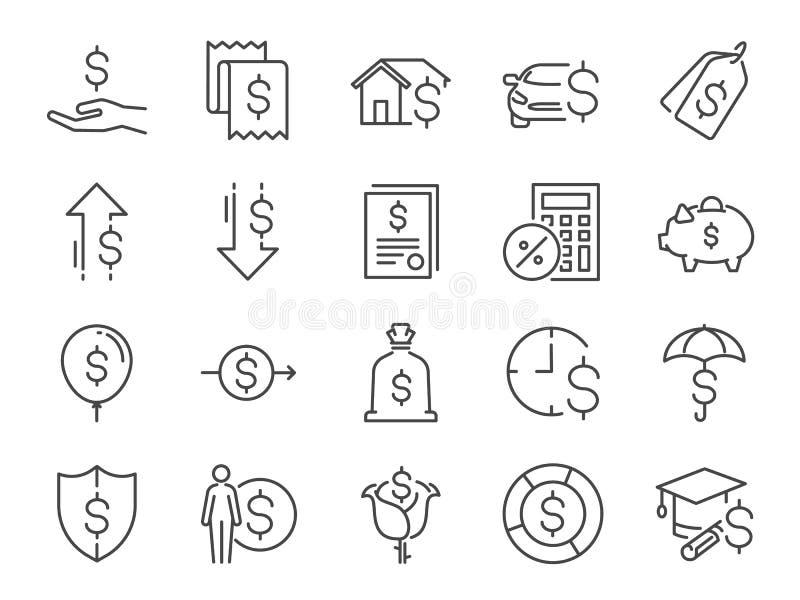 Lening en rentepictogramreeks Omvatte de pictogrammen als prijzen, persoonlijk inkomen, de lening van de huishypotheek, auto die, stock illustratie