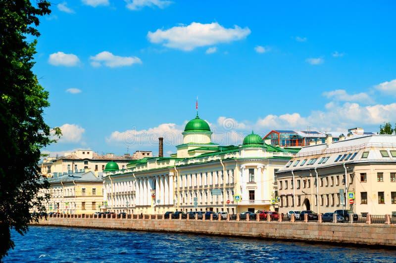 Leningrad sądu rejonowego budynek na Fontanka Rzecznym bulwarze w Świątobliwym Petersburg, Rosja obraz stock