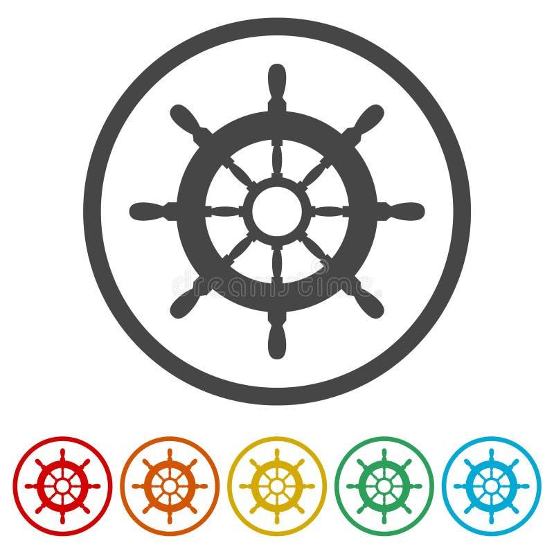 Lenkrad des Schiffs, Schiffsrad, 6 Farben eingeschlossen stock abbildung