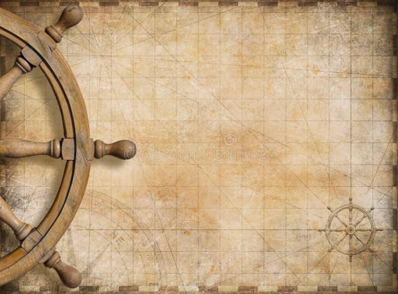 Lenkrad und Seekarte der leeren Weinlese stockbild