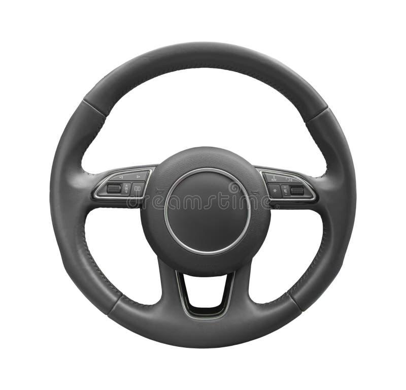 Lenkradfahrer des modernen Autos des Prestiges lokalisiert auf Weiß stockfotografie