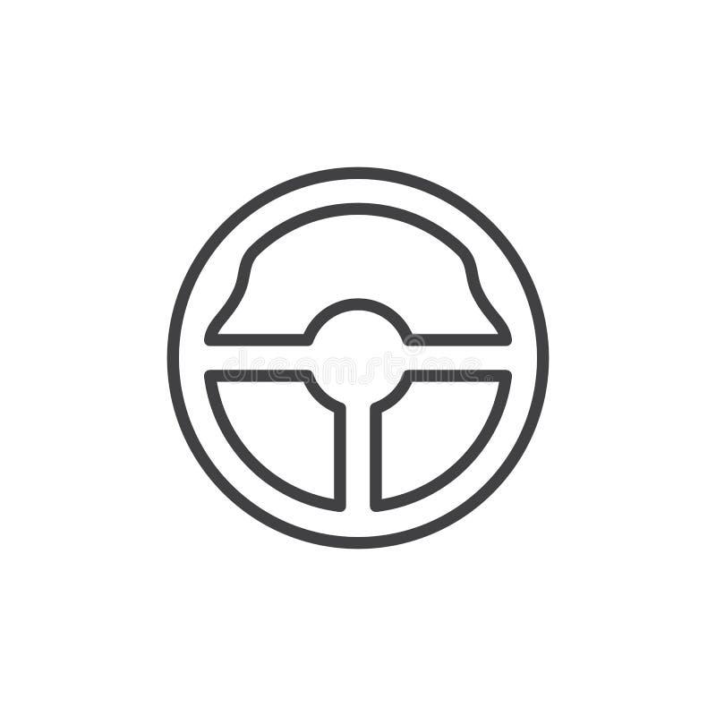 Lenkradlinie Ikone, Entwurfsvektorzeichen, lineares Artpiktogramm lokalisiert auf Weiß lizenzfreie abbildung