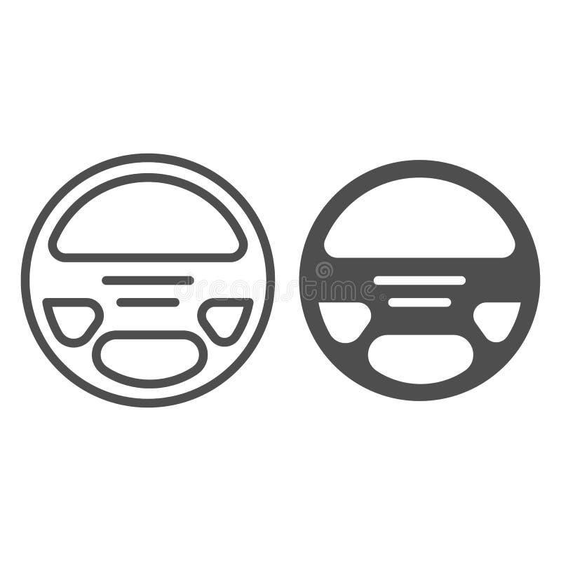 Lenkradlinie und Glyphikone Autohelm-Vektorillustration lokalisiert auf Weiß Autosteuerentwurfs-Artentwurf stock abbildung