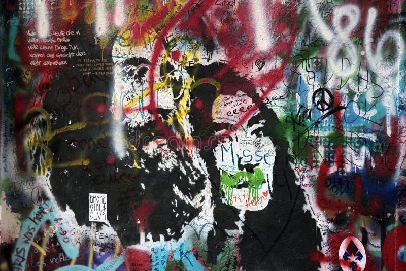 lennon布拉格墙壁 库存图片