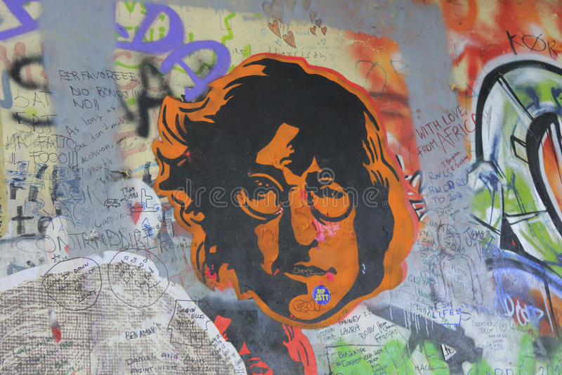 Lennon Wall, PRAAG, TSJECHISCHE REPUBLIEK stock afbeelding