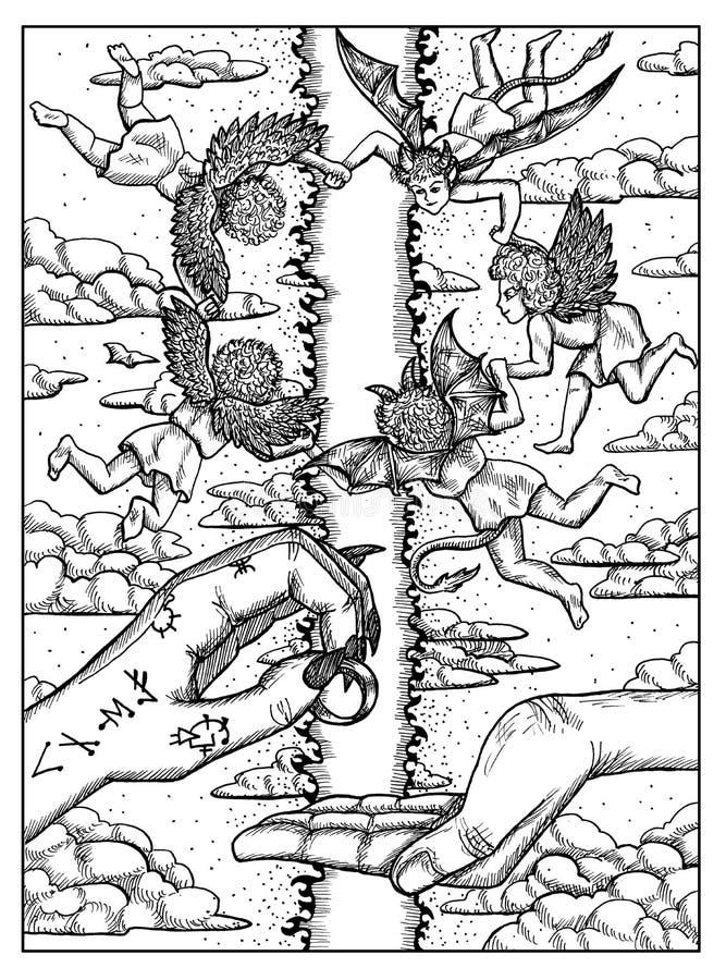 ?? Lenormand oracle占卜用的纸牌的黑白神秘的概念 皇族释放例证