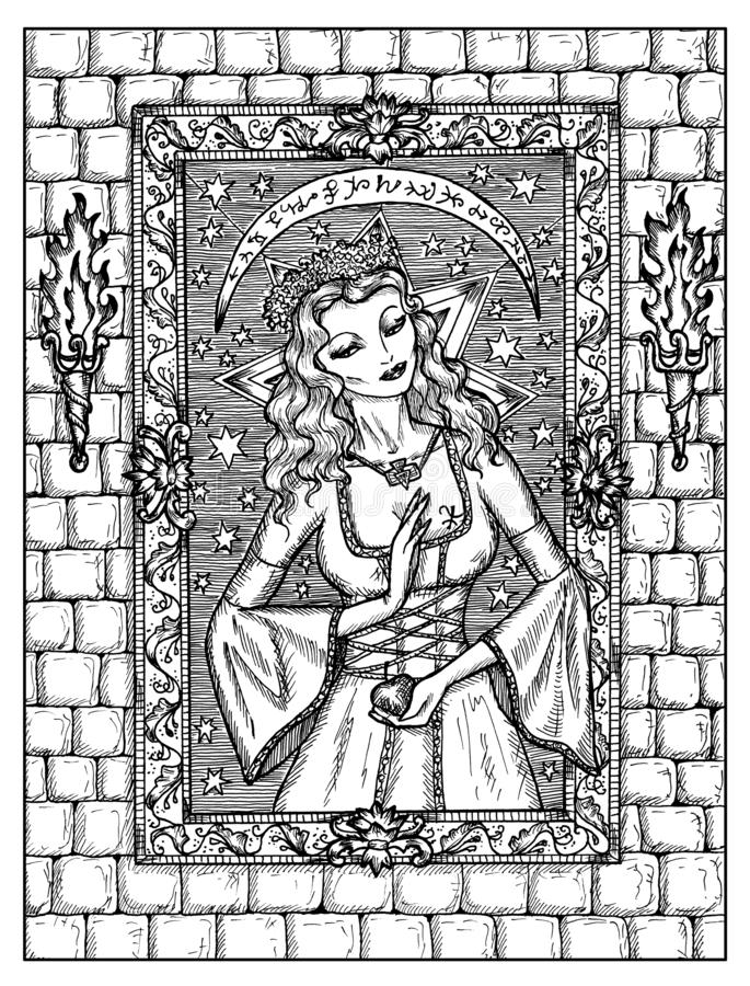?? Lenormand oracle占卜用的纸牌的黑白神秘的概念 向量例证