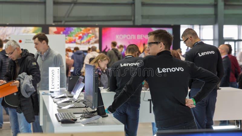 Lenovo budka podczas CEE 2017 w Kijów, Ukraina fotografia royalty free