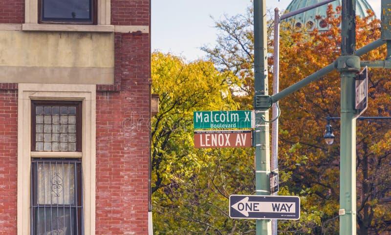 Lenox Malcolm Χ λεωφόρος στη Νέα Υόρκη στοκ φωτογραφία με δικαίωμα ελεύθερης χρήσης