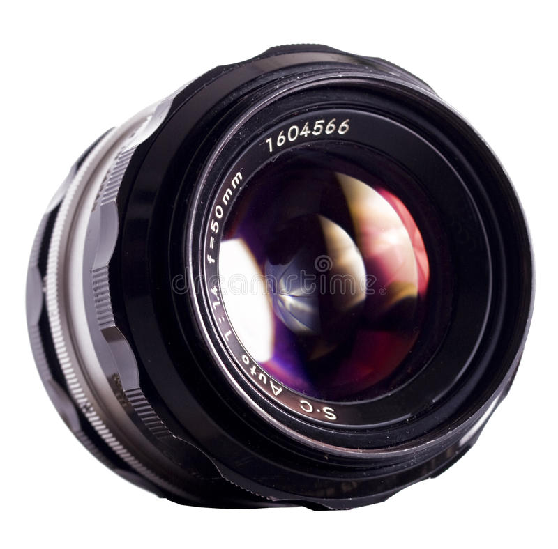 Lens. Classic lens on white background royalty free stock photos