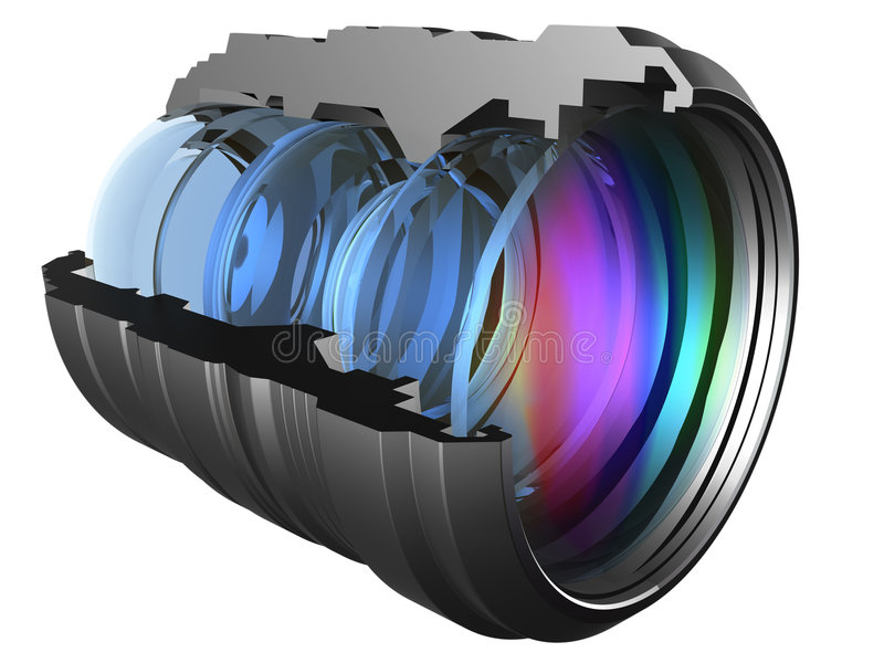 Lens. The optical scheme of a camera lens royalty free illustration