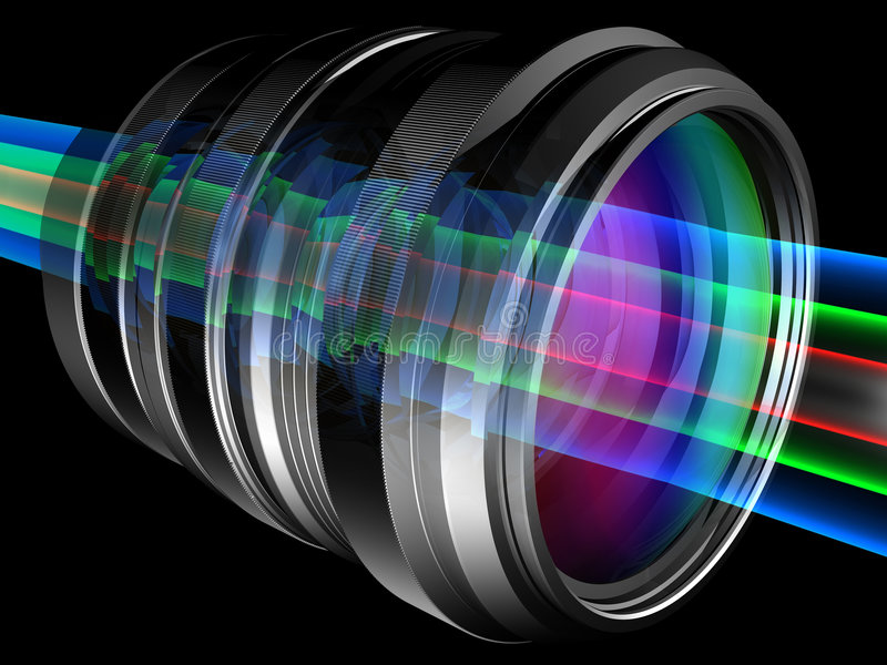 Lens. Light rays through camera lens stock illustration