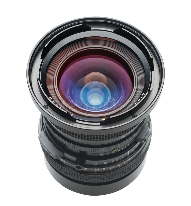 Lens at angle with clipping path. Camera lens photographed at 45 degree angle on white with clipping path royalty free stock photography