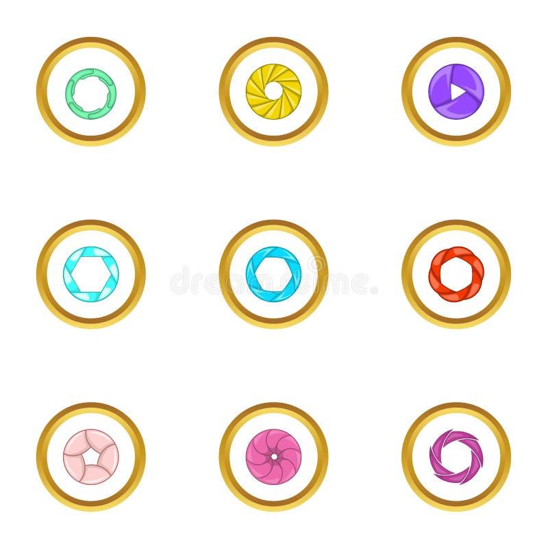 Lens aperture icons set, cartoon style vector illustration