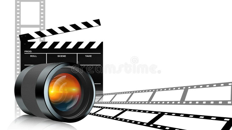 Lens applådbräde och filmremsa på vit stock illustrationer