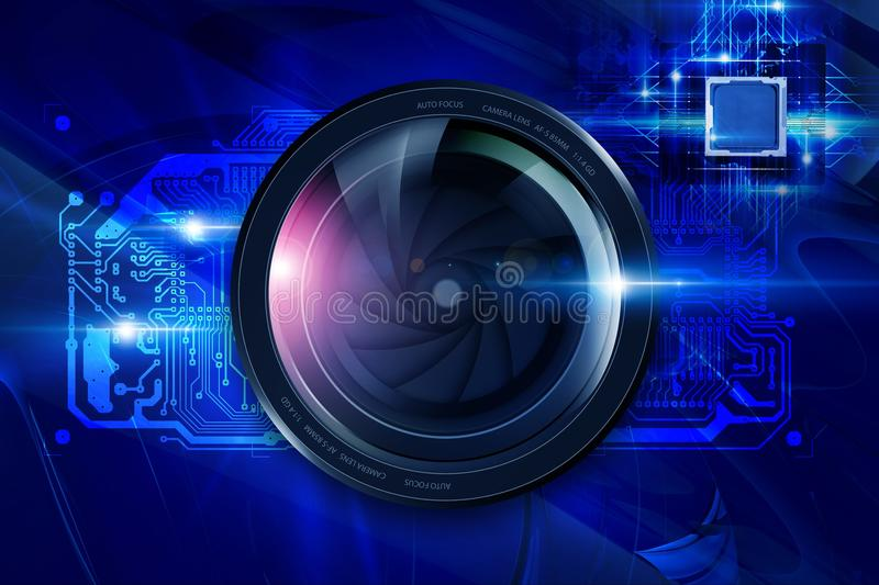 Lens and Circuit Board. Camera Lens and Circuit Board. Digital Photography Concept royalty free illustration
