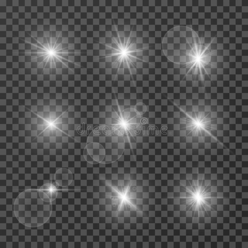 Free Lens Effects. Camera Flash Light, Flare. White Light Spot Glowing Sparkles, Starlight Isolated On Transparent Background Royalty Free Stock Photo - 132610325