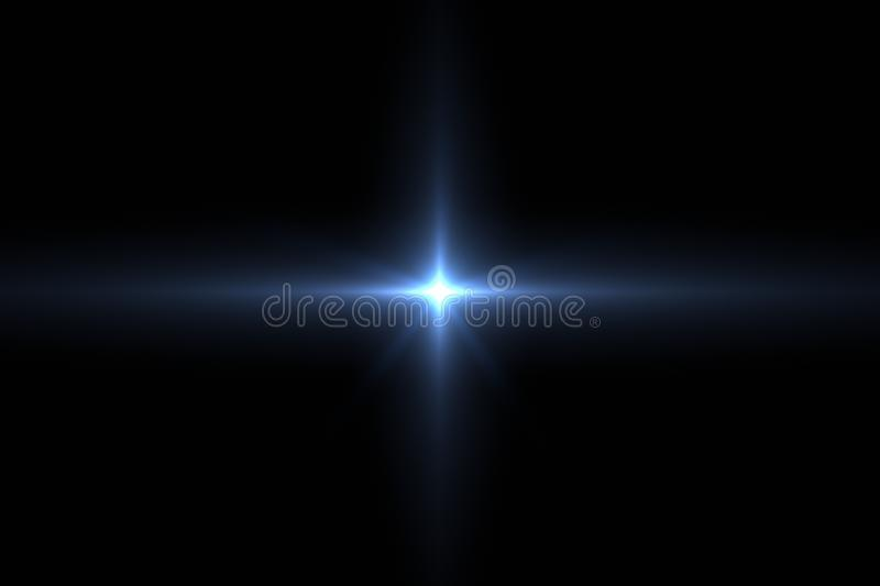 Lens flare isolated in black. Digit lens flare with blue and cyan light isolated with black background. Used for texture and material. 3d rendering stock illustration