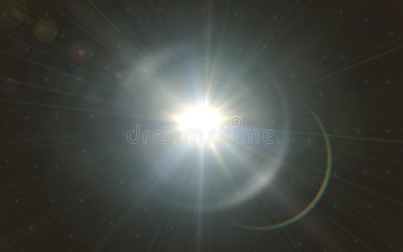 Lens flare light over black background. easy to add overlay or screen filter over photo.sunburst with Lens flare light. Over black background royalty free stock photography