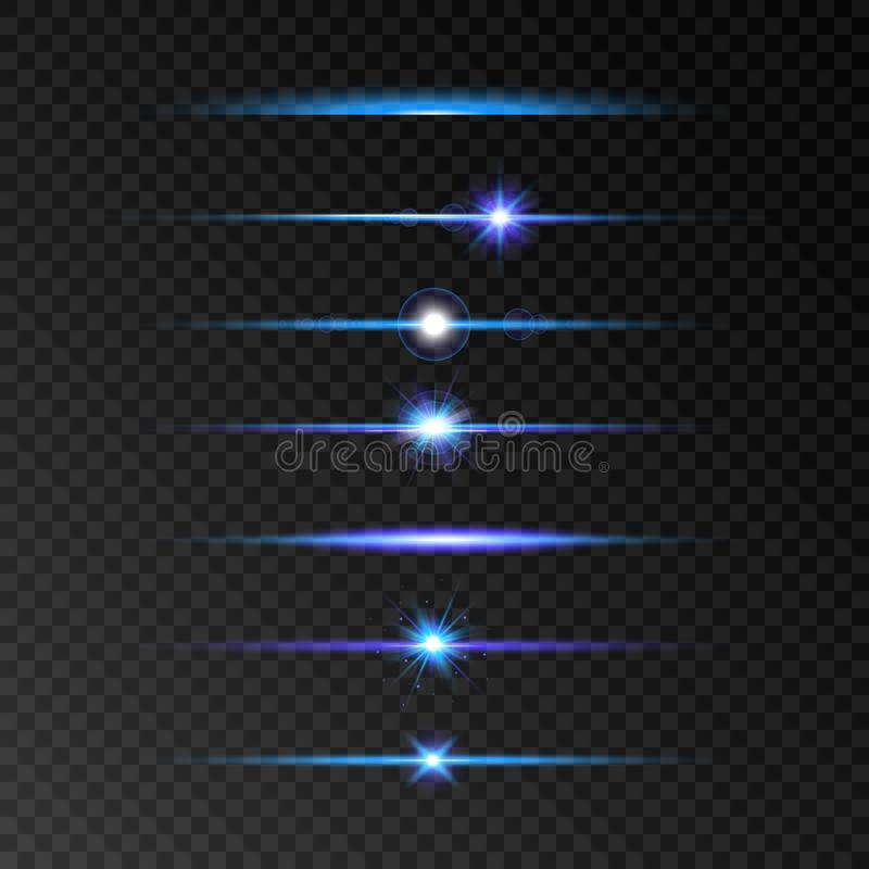Lens flare set. Blue and violet glowing line set on transparent background. Shine beams. Flash with rays and spotlight. Glowing li stock illustration
