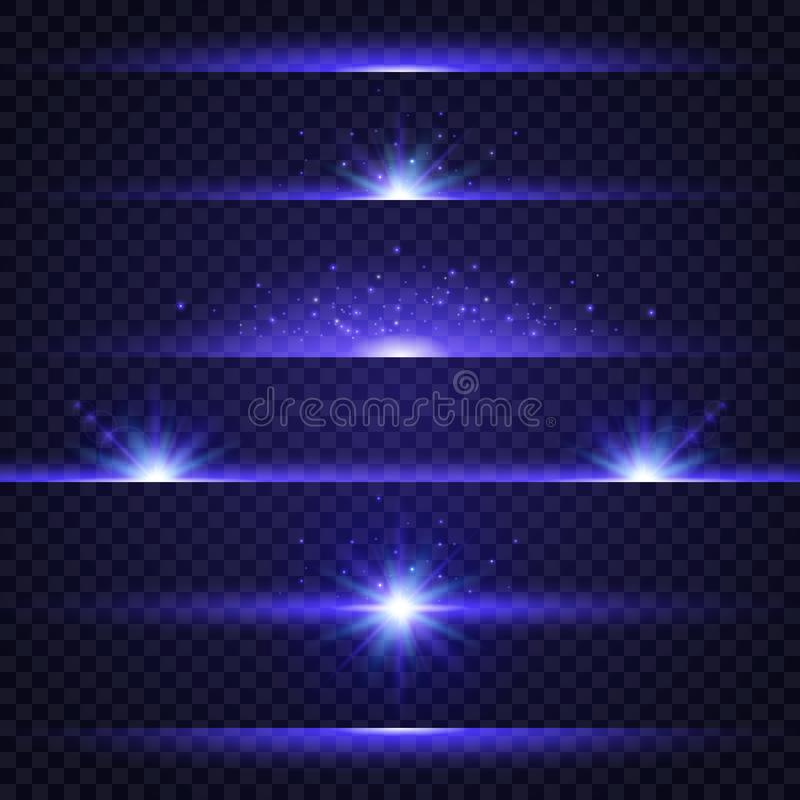 Lens flare set. Collection of blue light effects on transparent background. Glowing lights, stars and sparkles. Star stock illustration
