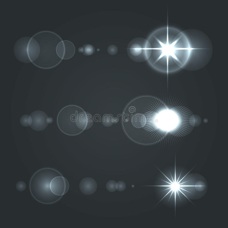 lens flare set sun with transparent background  stock vector