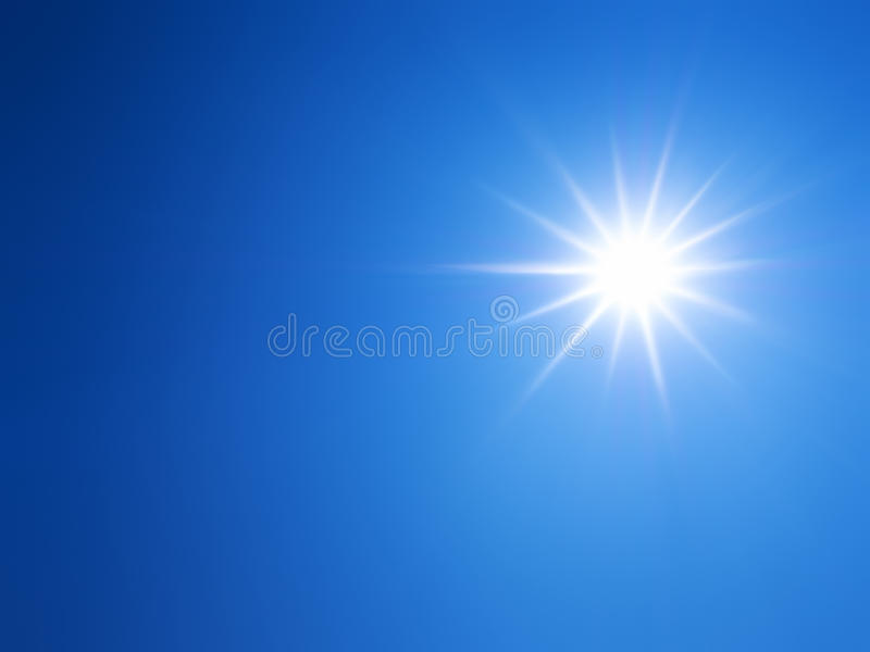 Lens flare of sunlight on blue sky royalty free stock photos