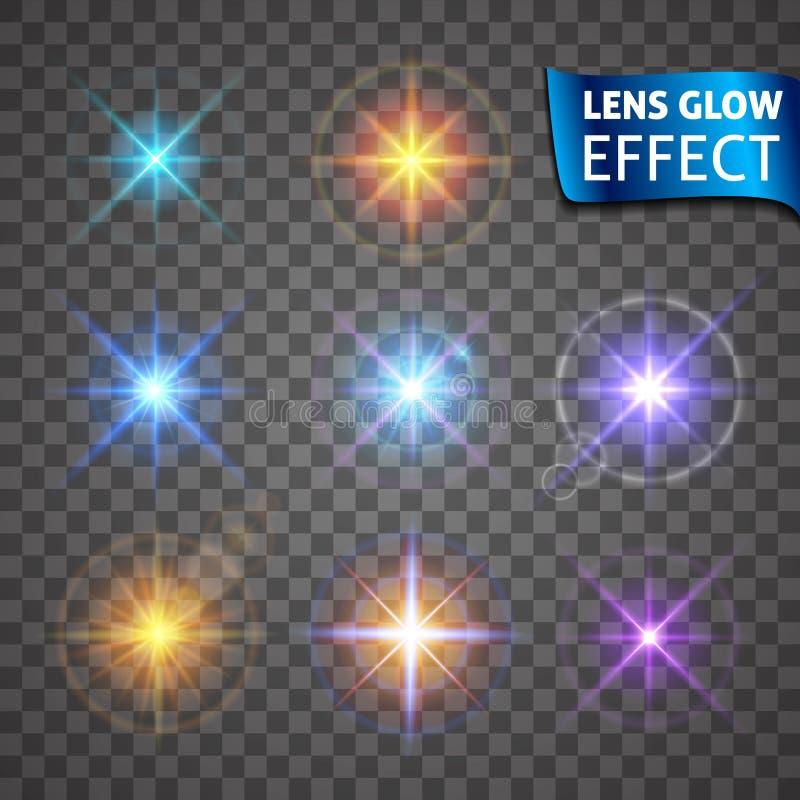 Lens glödeffekt Glödande ljus ilsken blick, ljusa realistiska belysningeffekter vektor illustrationer