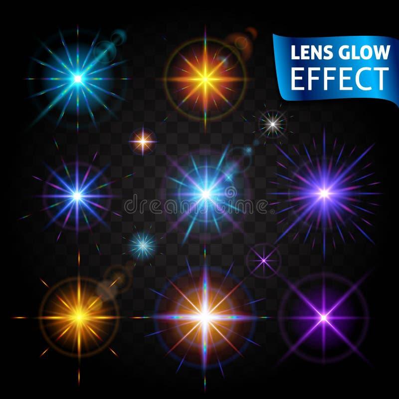 Lens glödeffekt Glödande ljus ilsken blick, ljusa realistiska belysningeffekter på en genomskinlig bakgrund Använd designen, glöd stock illustrationer