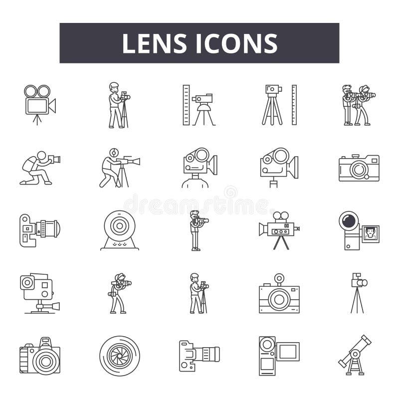 Lens linje symboler för rengöringsduk och mobil design Redigerbart slaglängdtecken Illustrationer för Lens översiktsbegrepp royaltyfri illustrationer