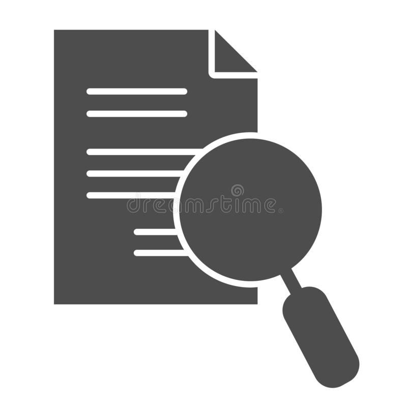 Lens and list solid icon. Search paper vector illustration isolated on white. Magnifying glass and document glyph style. Design, designed for web and app. Eps vector illustration